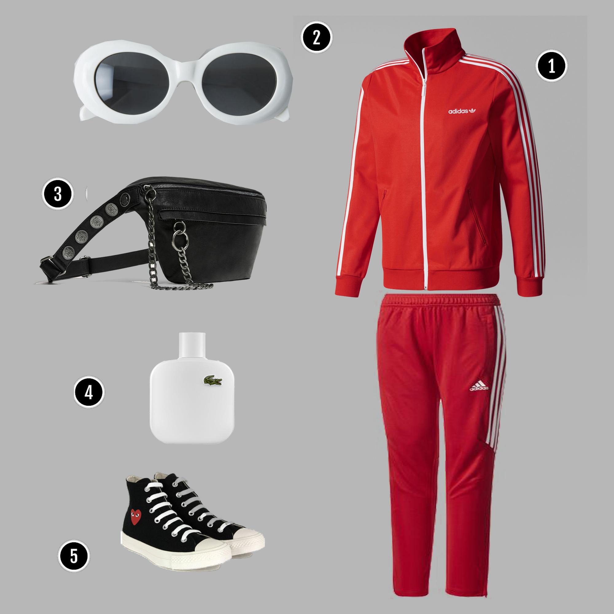1. Áo + Quần : Adidas/ 2. Kính: Acne/ 3. Túi: Zara/ 4. Nước hoa: Lacoste / 5. Giày: CDG