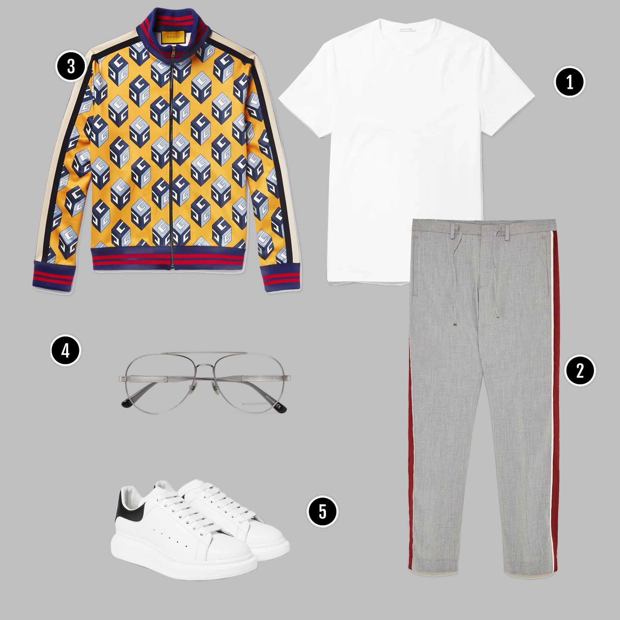 1. Áo: Acne / 2. Quần: Zara/ 3. Áo: Gucci/ 4. Kính: BOTTEGA VENETA / 5.Giày: Alexander Mcqueen