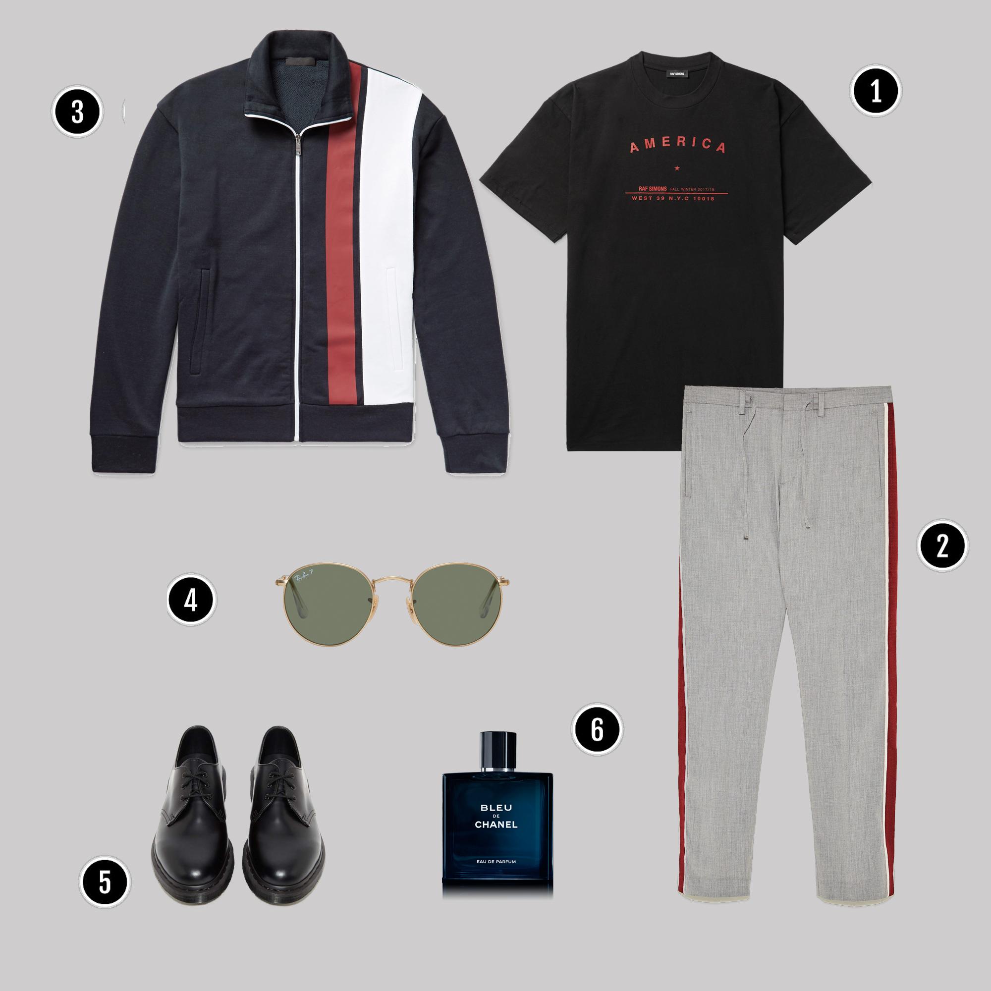1. Áo: Raf Simons / 2. Quần: Zara / 3. Áo: Prada/ 4. Kính: Rayban / 5. Giày : Dr Martens / 6. Nước hoa: Chanel