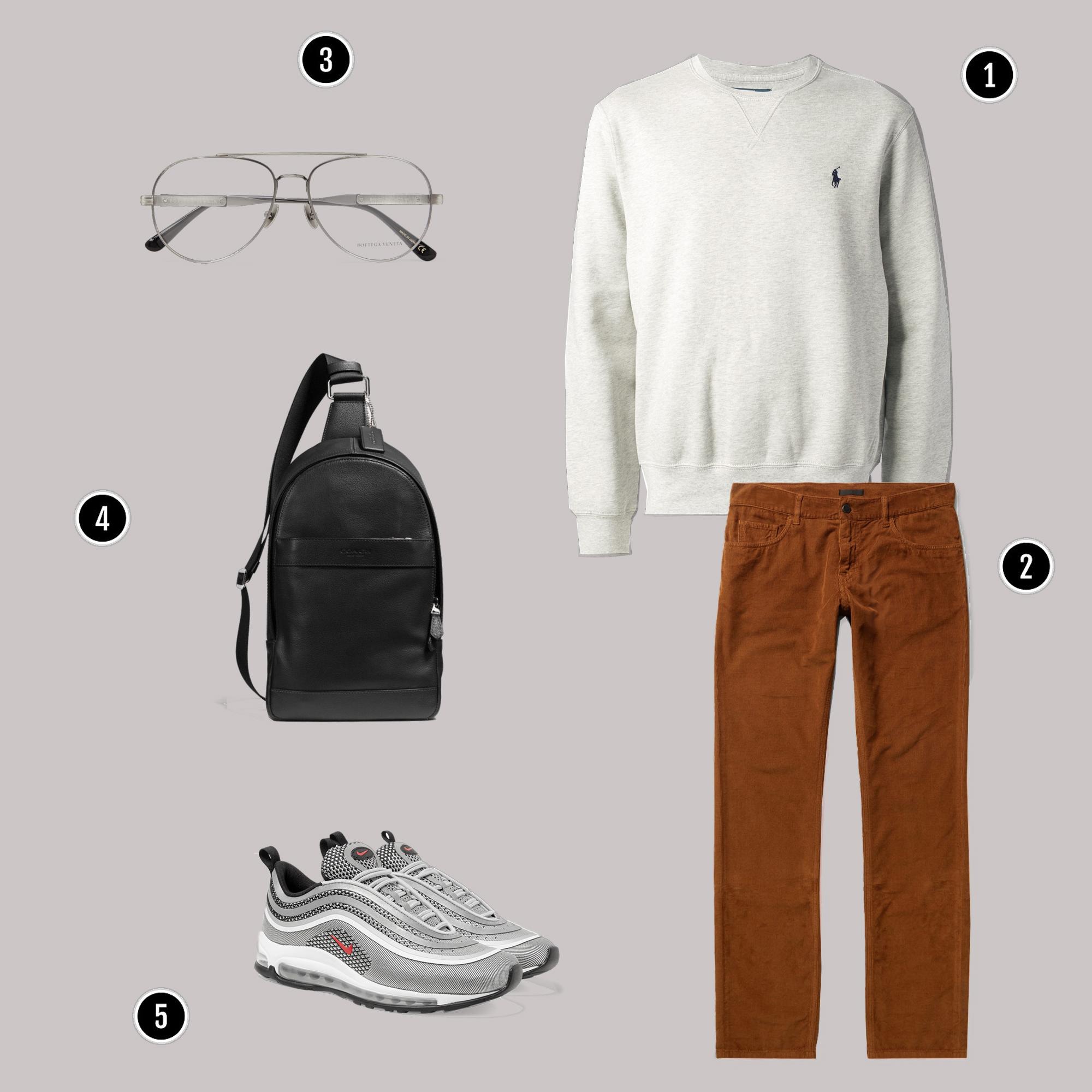1. Áo: Ralph Laurent / 2. Quần: Gucci/ 3. Kính: Bottega veneta/ 4. Túi: Coach / 5. Giày: Nike