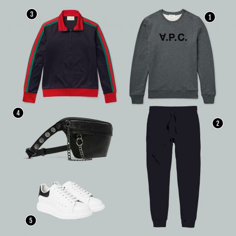 1. Áo: APC / 2. Quần: H&M/ 3. Áo: Gucci/ / 4. Túi: Zara / 5. Giày: Alexander Mcqueen