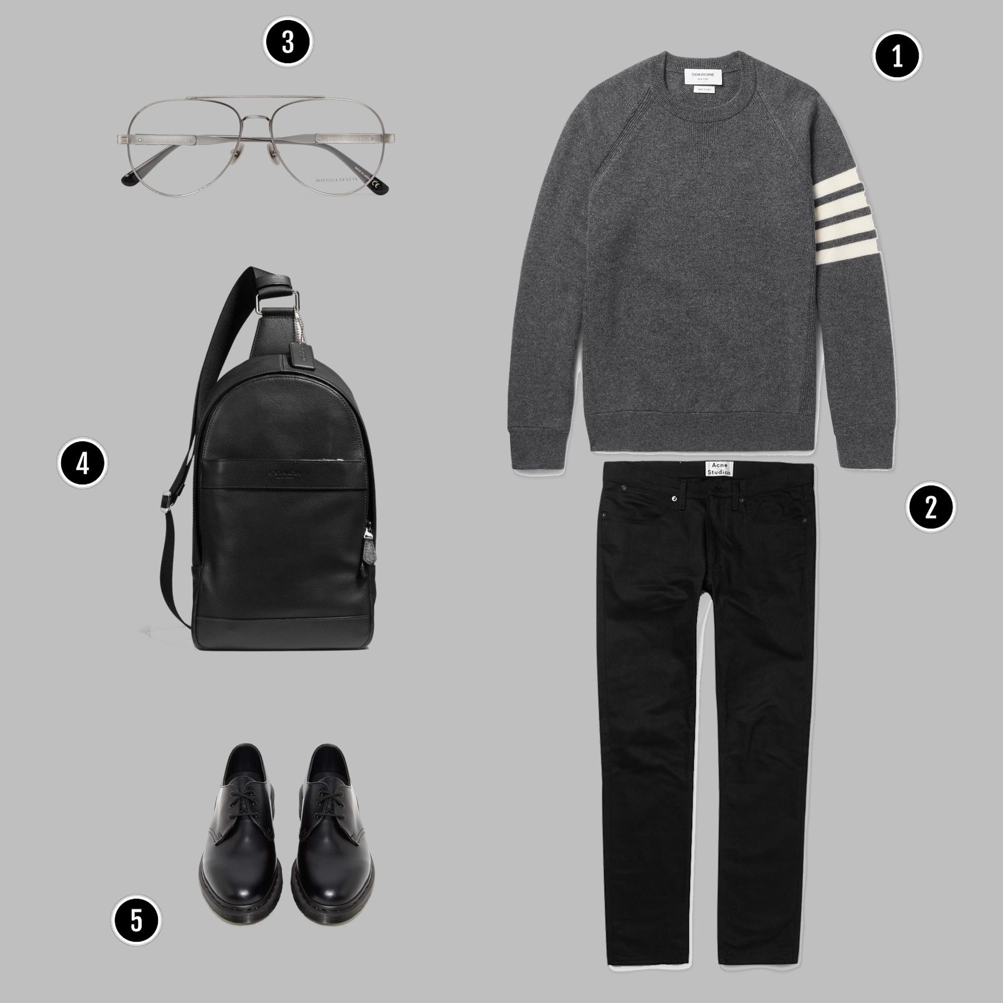 1. Áo: Thom Browne / 2. Quần: Acne / 3. Kính: Bottega veneta / 4. Túi: Coach / 5. Giày: Dr martens