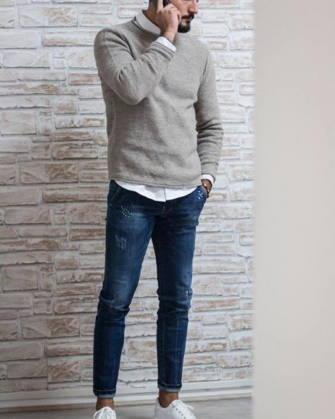 ELLE Man Style CalendarBack to basic cung ao sweater xam