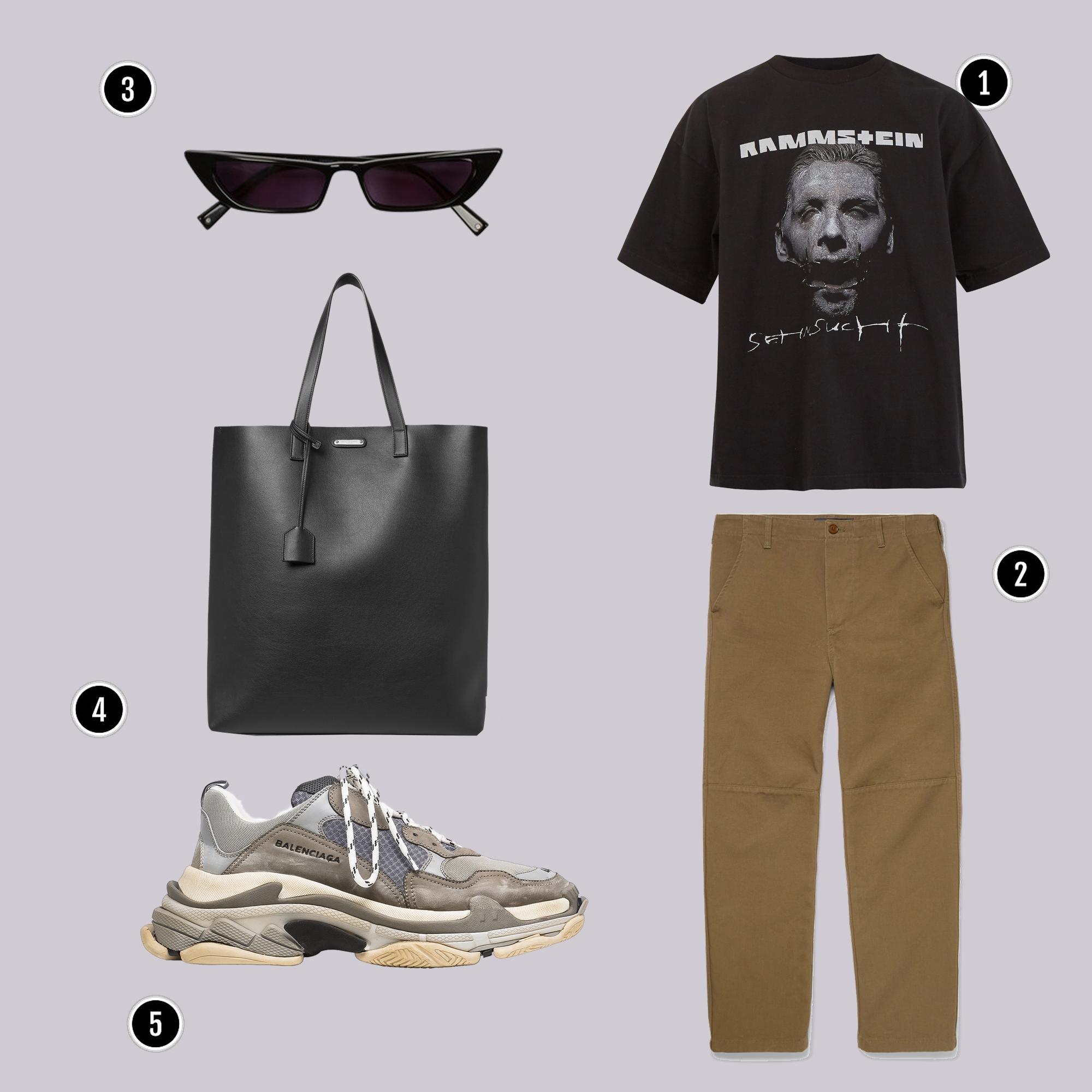 1. Áo: Vetements / 2. Quần: Balenciaga / 3. Kính: Kylie / 4. Túi : YSL / 5. Giày: Balenciaga