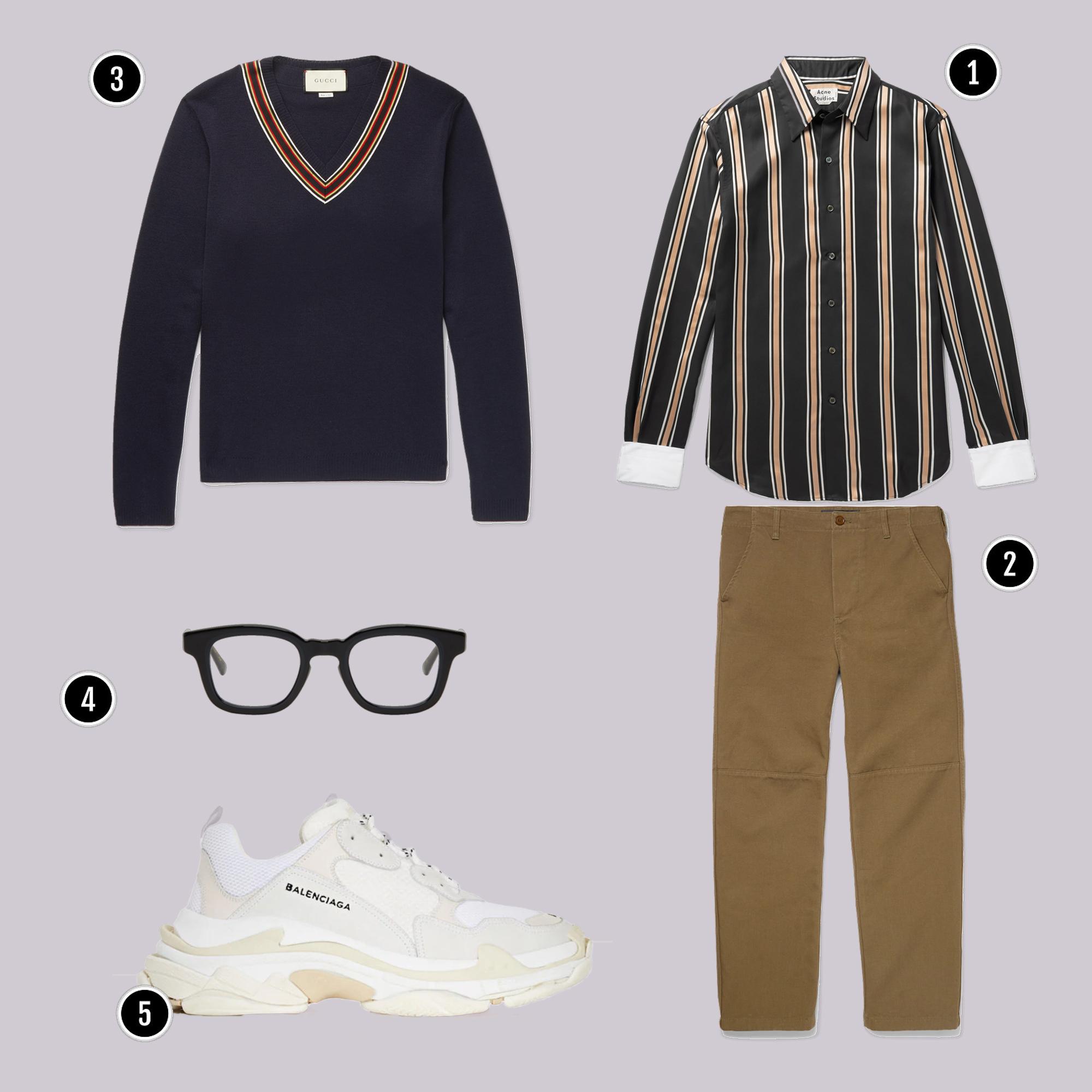1. Áo: Acne / 2. Quần: Balenciaga / 3. Áo: Gucci / 4. Kính: Eyevan 7285 / 5. Giày: Balenciaga