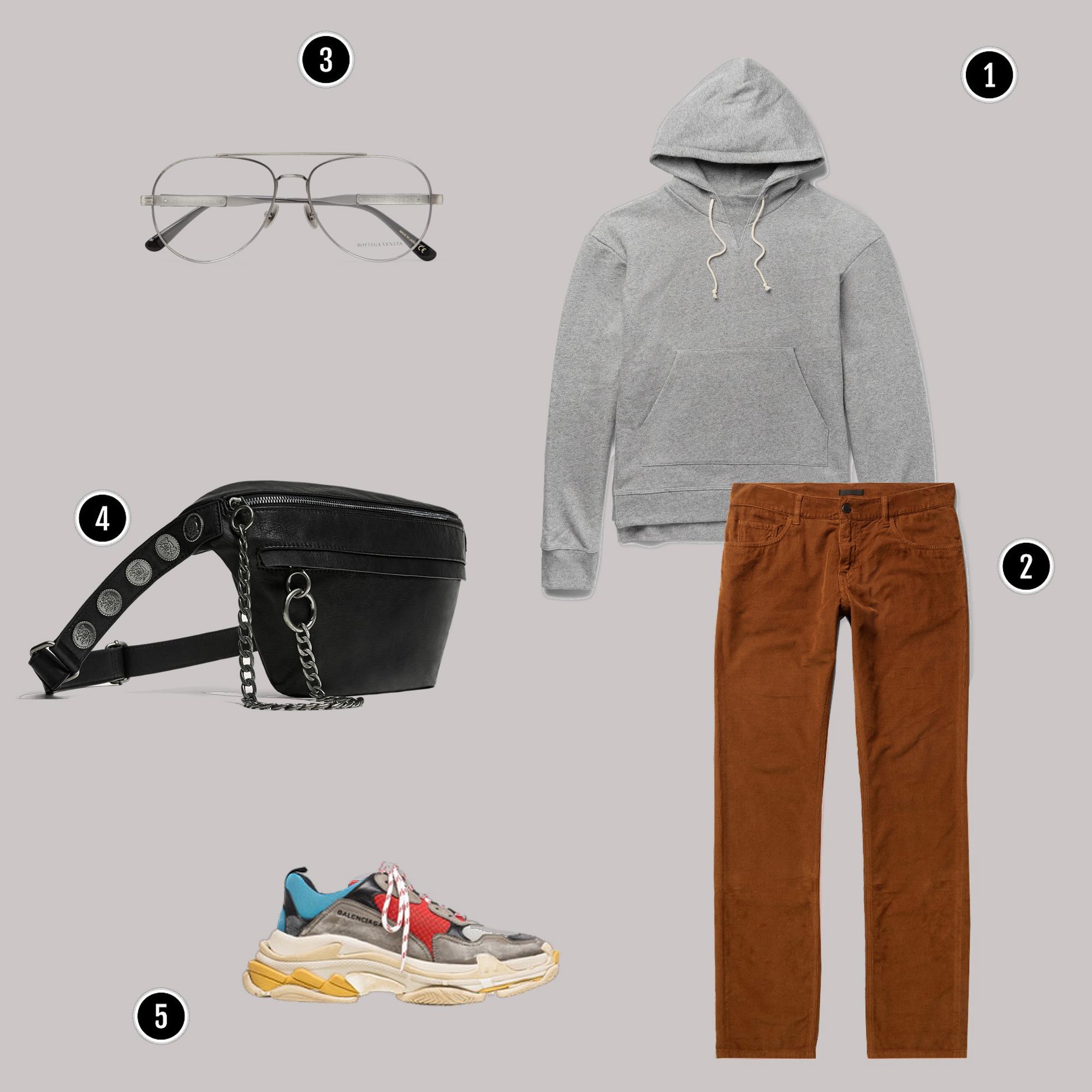 1. Áo: JOHN ELLIOTT / 2. Quần: Acne / 3. Kính: Bottega veneta / 4. Túi: Zara / 5. Giày: Balenciaga