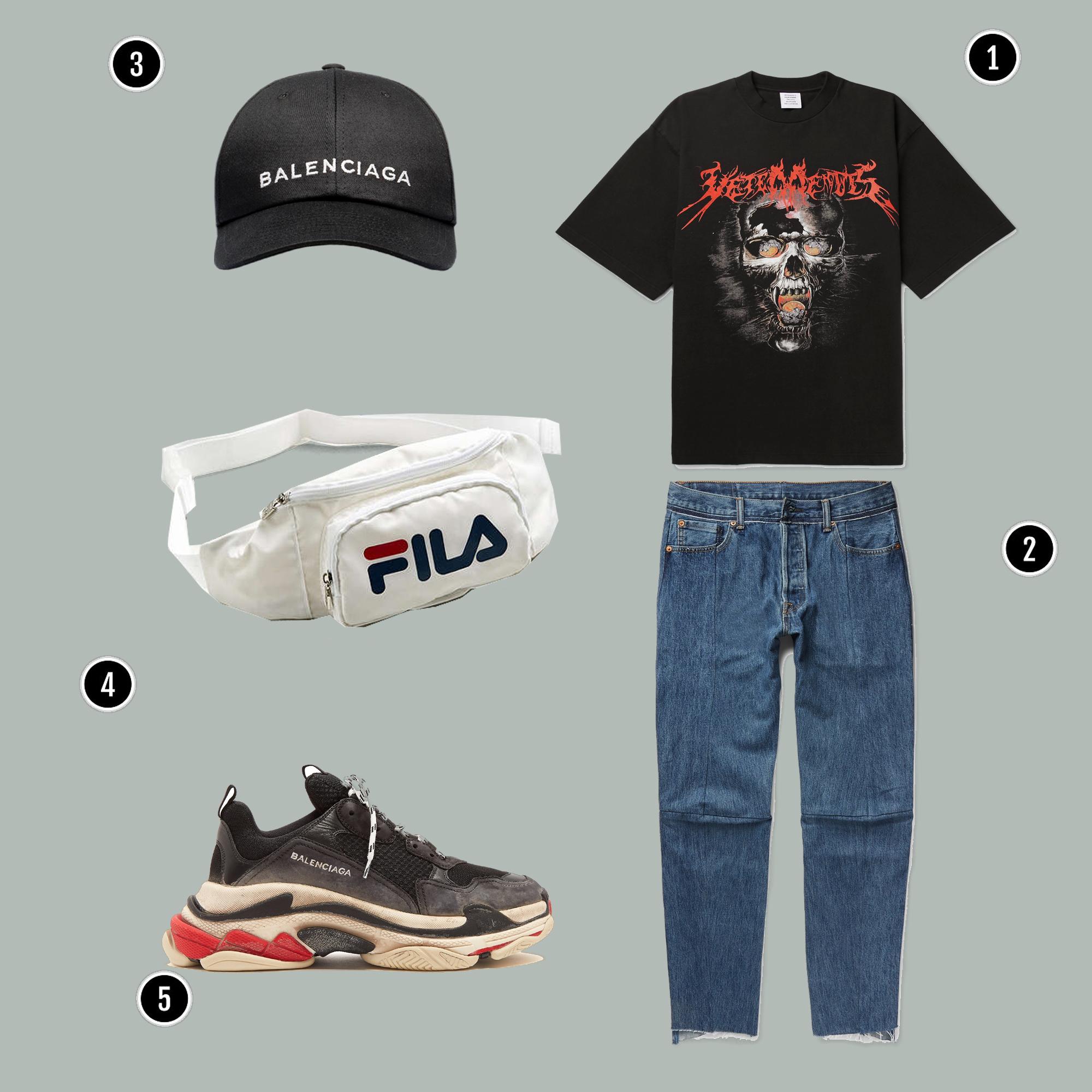 1. Áo: Vetements/ 2. Quần: Vetements / 3. Mũ: Balenciaga / 4. Túi : Fila/ 5. Giày: Balenciaga