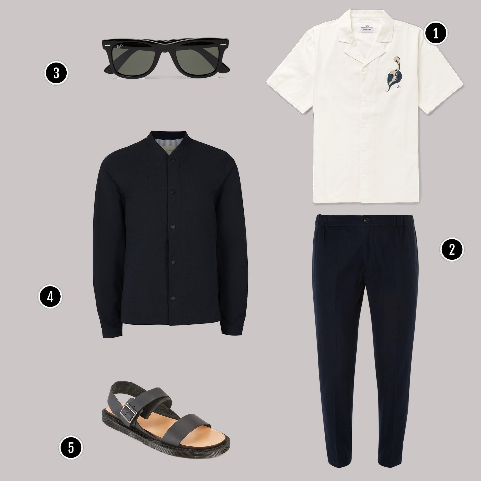 1. Áo: Folk/ 2. Quần: Club Monaco/ 3. Kính: Rayban / 4. Áo: Selected Homme / 5. Giày: Dr martens