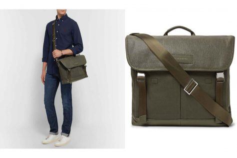 Jackson Leather-Trimmed Waxed Cotton-Canvas Messenger Bag £460