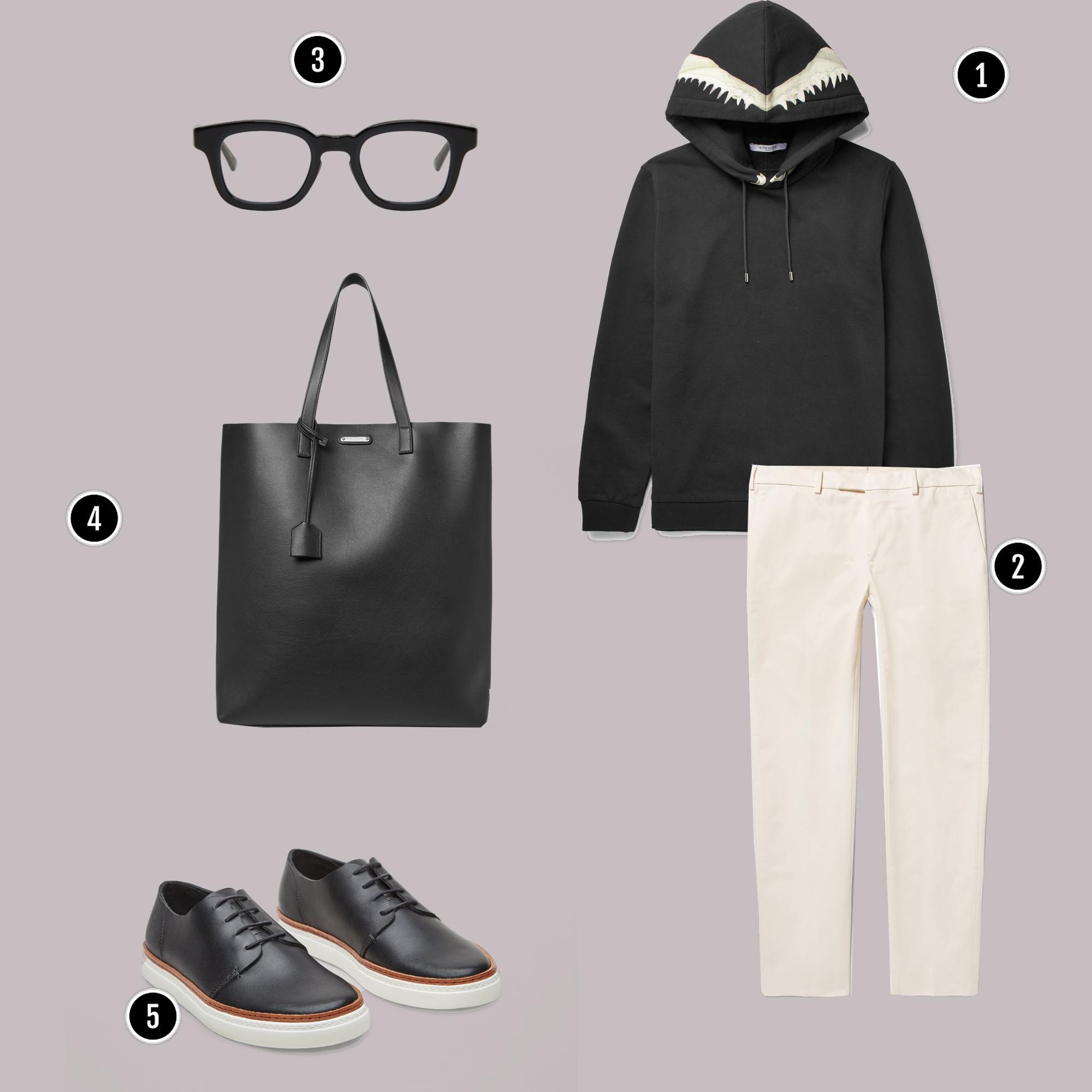 1. Áo: Givenchy / 2. Quần: Visvim / 3. Kính: Eyewear 7285/ 4. YSL / 5. Giày: COS