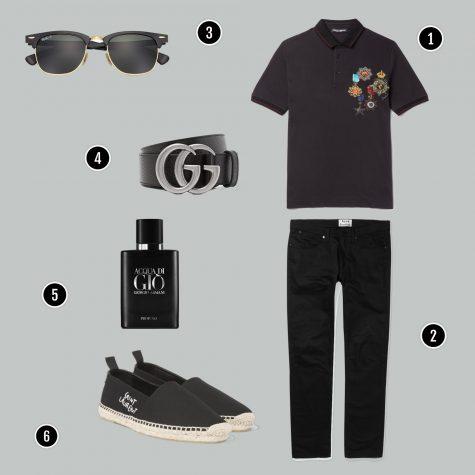 1. Áo: D&G / 2. Quần: Acne / 3. Kính: Rayban / 4. Nịch: Gucci / 5. Nước hoa: Armani/ 6. Giày: YSL