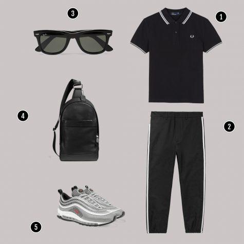 1. Áo: Fred Perry / 2. Quần: Gucci/ 3. Kính: Rayban/ 4. Túi: Coach / 5. Giày: Nike