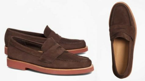 12 thuong hieu giay loafer nam Brooks Brothers Nubuck Penny loafers GBP190 - elle man