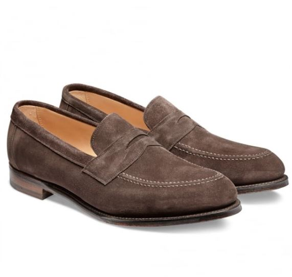 12 thuong hieu giay loafer nam Cheaney Hadley Penny Loafer in brown suede GBP292 - elle man 1