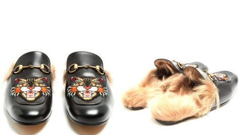 12 thuong hieu giay loafer nam Gucci princetown embroided fur-lined leather loafers £637 - elle man