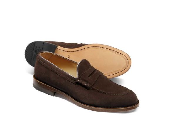 12 thuong hieu giay loafer nam charles tyrwhitt chocolate suede penny loafer 5,6mil VND - elle man 1