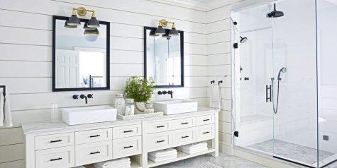 Tạo không gian phòng tắm đẹp và sang trọng với sắc trắng đen