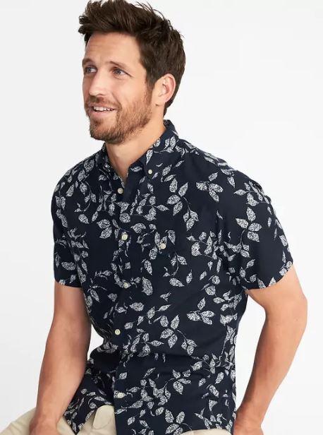 xu hướng thời trang hè 2018 old navy - printed short sleeve shirt - elle man 2