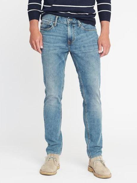 xu hướng thời trang hè 2018 old navy - slim built-in flex 360o jeans - elle man 1