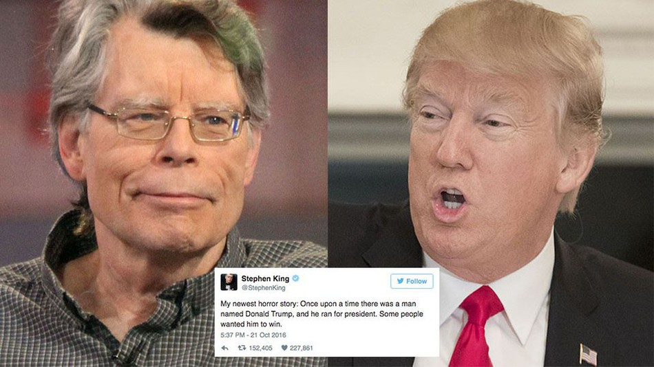Stephen King từng nói Donald Trump tệ hơn bất kỳ tiểu thuyết kinh dị nào ông từng viết. Nguồn: Mashable.