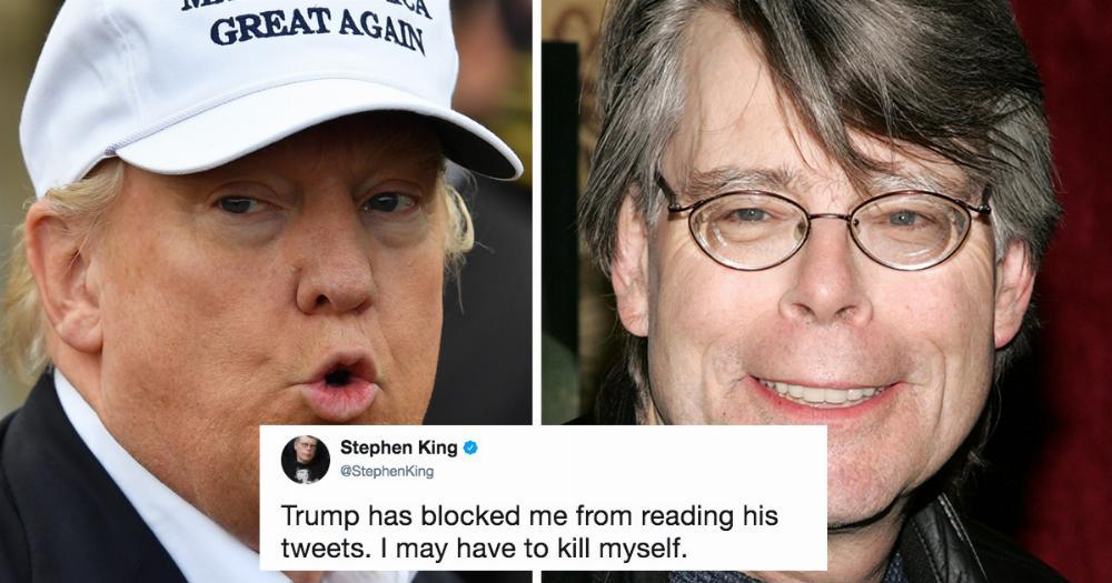 Những dòng trên Twitter thông báo Doanld Trump đã chặn Stephen King. Nguồn: Someecards.