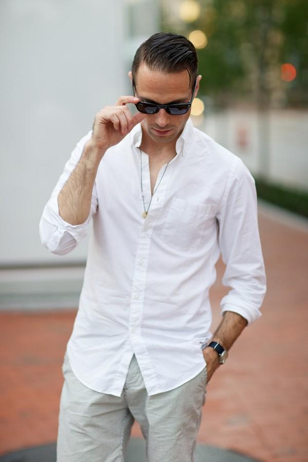 ELLE Man Style Calendar Bảy ngày hoàn hảo với áo sơ mi trắng linen. (16)