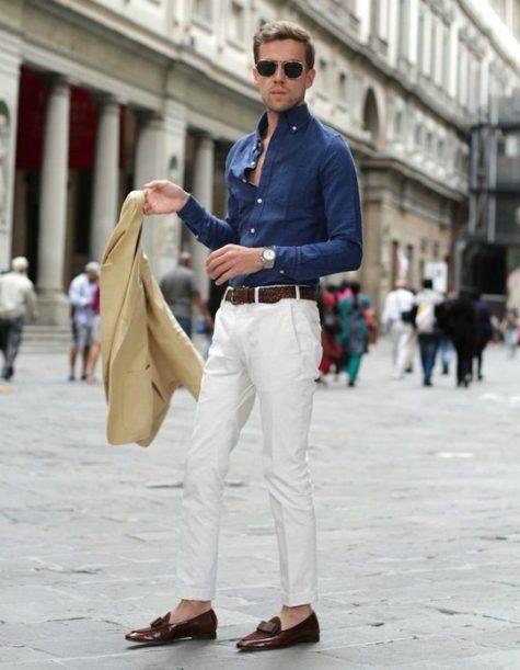 Quần skinny trắng thích hợp với chàng trai thon gọn. Ảnh: Pinterest