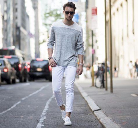 Những chiếc quần jeans trắng luôn gây đau đầu cho mọi chàng trai trong việc phối đồ. Ảnh: The Idle Man