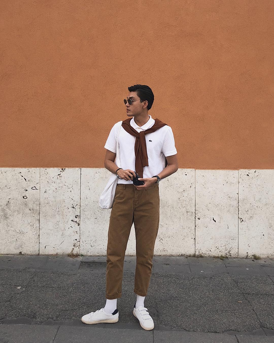 Người mẫu Quang Đại thường xuyên chọn phong cách này trong những chuyến du lịch. Ảnh: Instagram @Tranquangdai