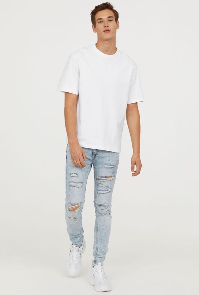 quan jeans rach & ao thun basic - elle man 2
