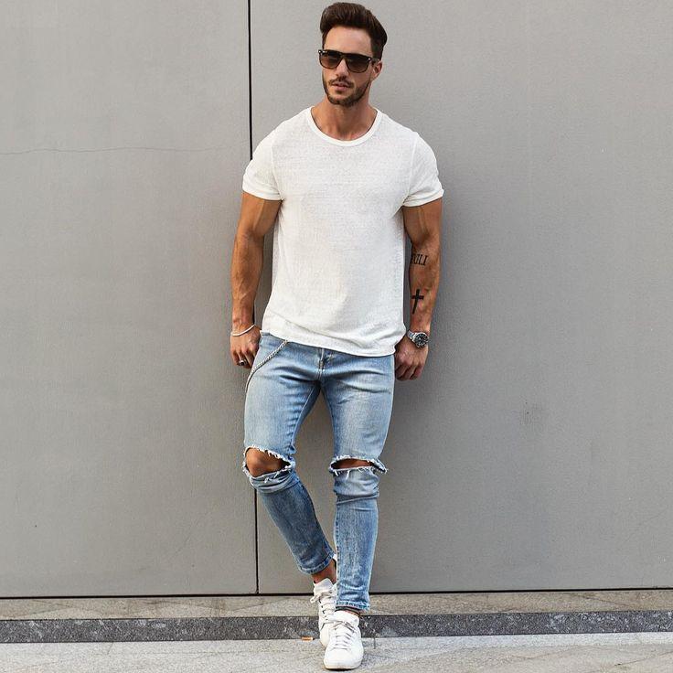 quan jeans rach & ao thun basic - elle man 4