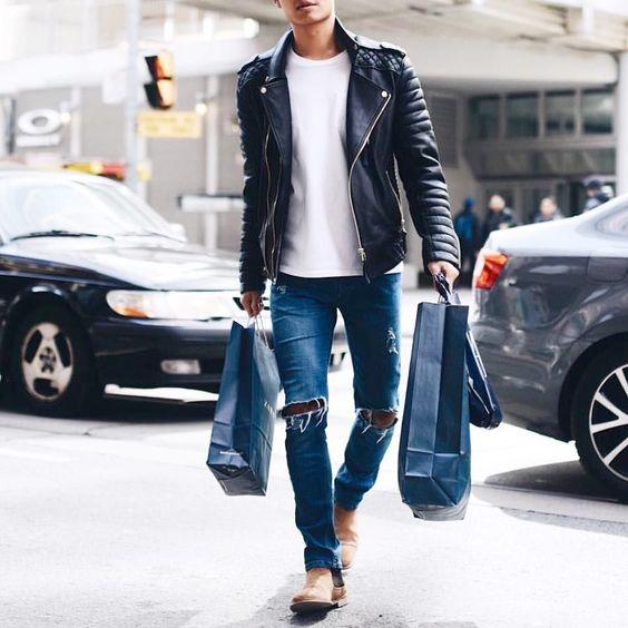 quan jeans rach & leather jacket photo styleoholic- elle man 4
