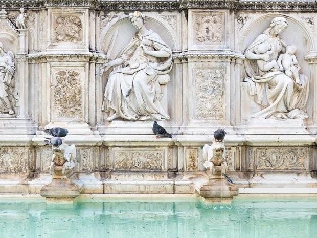 Đài phun nước Fonte Gaia ở Siena được xem là hiện thân cho văn hóa và kiến trúc thời Trung cổ. Ảnh: Zing