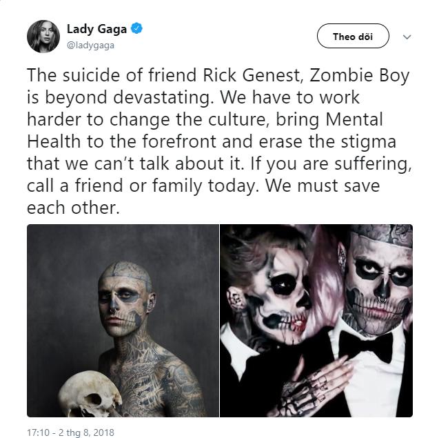 """Lady Gaga chia sẻ đầy xúc động về người mẫu Zombie Boy từng hợp tác với cô trong MV """"Born This Way"""". Ảnh: Twitter Lady Gaga"""