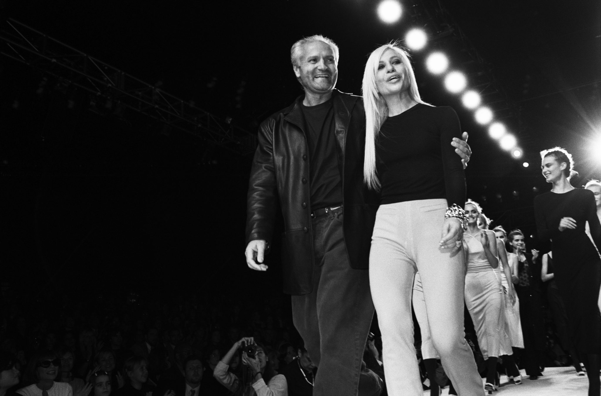 NEW YORK - MARCH 1996: Fashion designers Gianni Versace (1946 -1997) and Donatella Versace on the runway after a Versace fashion show in March 1996 in New York City, New York. (Photo by Catherine McGann/Getty Images)
