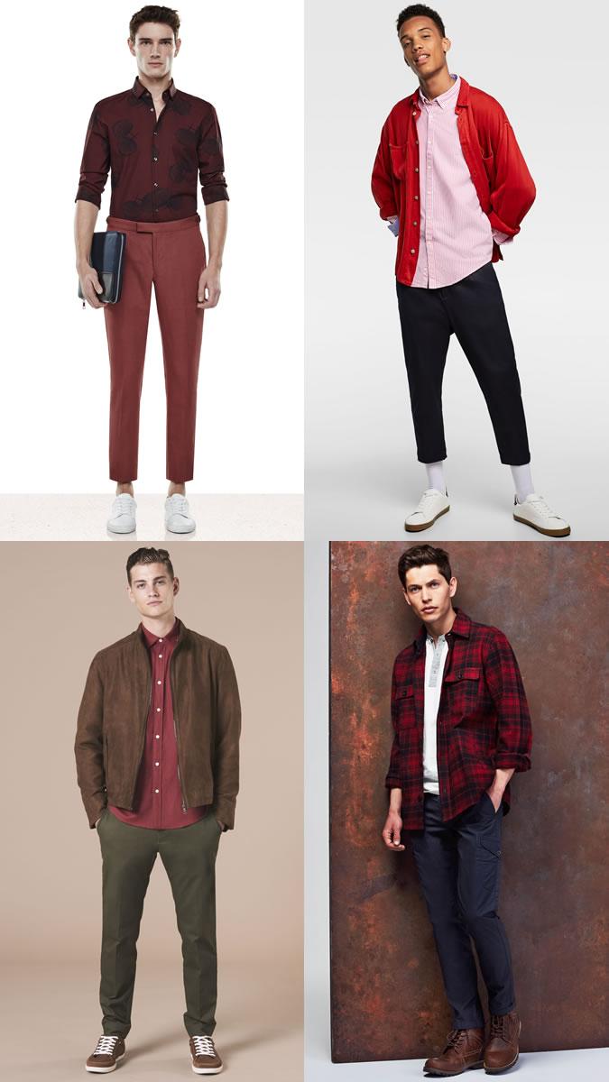 Những chiếc áo sơ mi đỏ mang lại cảm hứng phối đồ đa dạng. Ảnh: Fashionbeans
