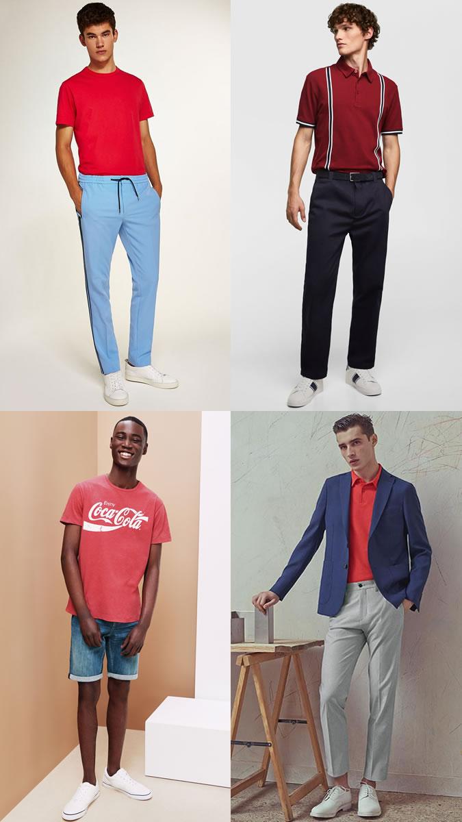 Áo thun đỏ khiến trang phục mùa Thu không còn nhàm chán. Ảnh: Fashionbeans