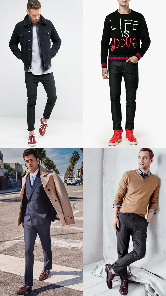 Những đôi giày đỏ tạo sự khác biệt trong cảm hứng phối đồ Thu-Đông 2018. Ảnh: Fashionbeans