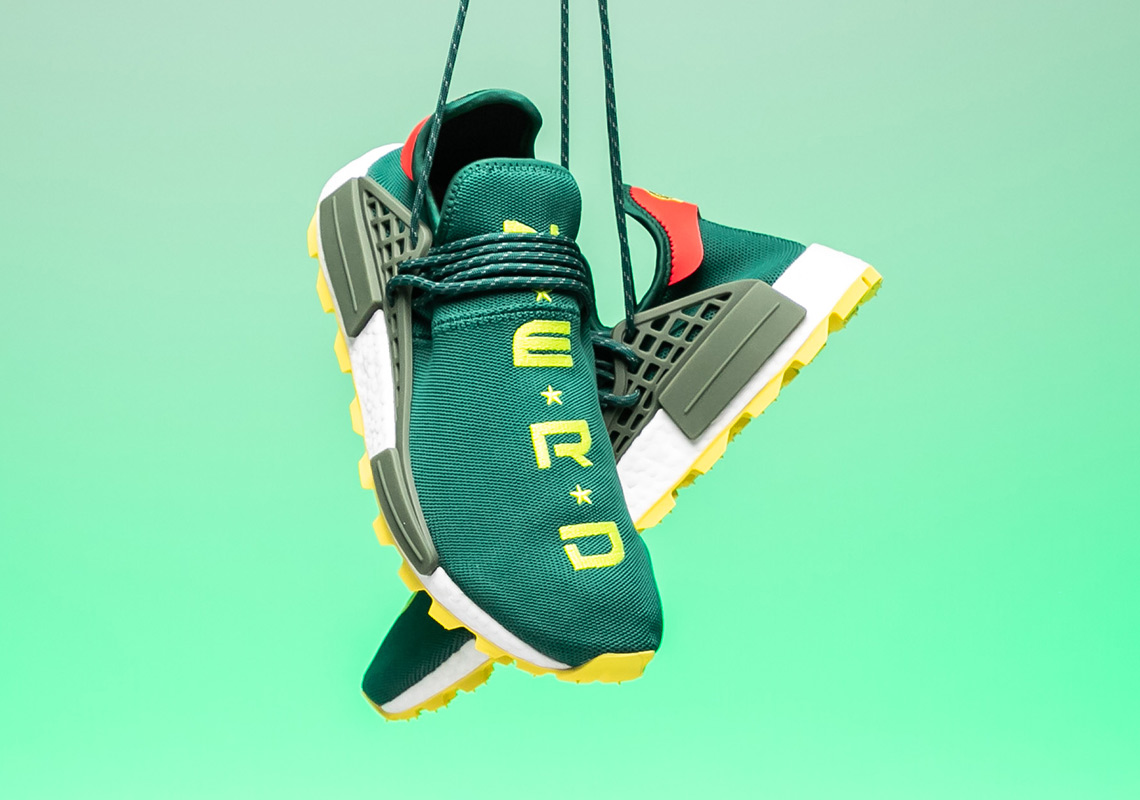 "giay theo thao dat nhat q3.2018 - N.E.R.D x adidas Originals Pharrell Williams NMD Hu ""Green.Yellow"" - elle man"