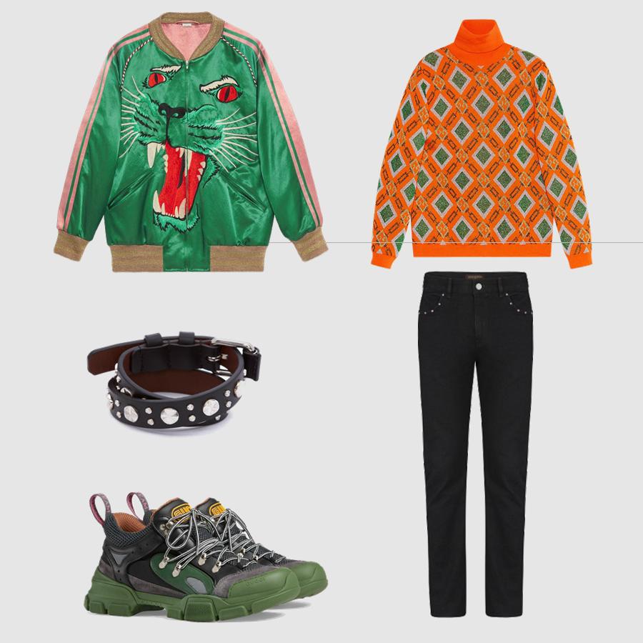 Áo len, áo khoác, giày: Gucci Quần: Louis Vuitton Phụ kiện: Alexander McQueen