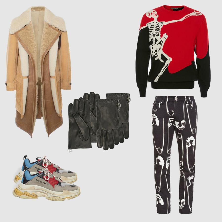 Áo: Alexander McQueen Quần, găng tay: Moschino Áo trench coat: Alexander McQueen GIày: Balenciaga