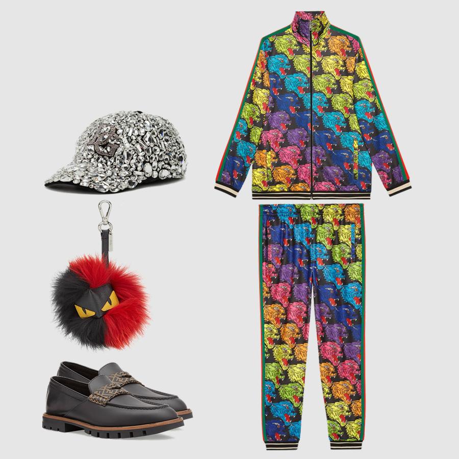 Áo, quần,: Gucci Giày, phụ kiện: Fendi Mũ: Dolce&Gabana