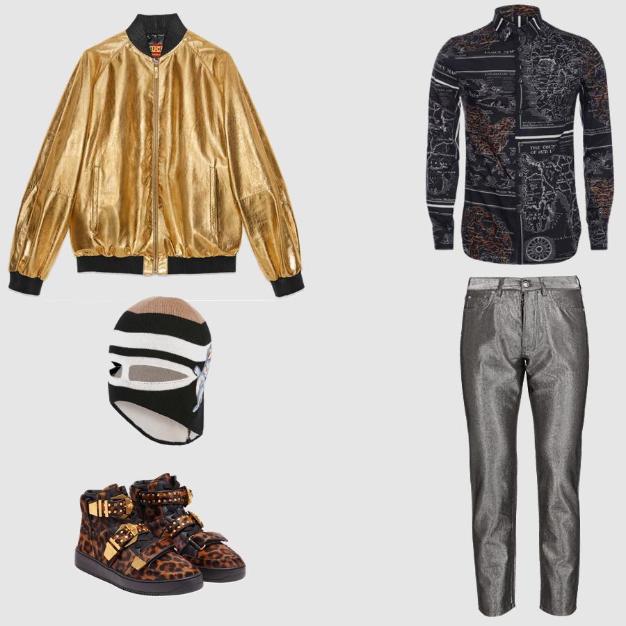 Áo: Alexander McQueen Quần, giày: Versace Áo khoác, nón trùm mặt: Gucci