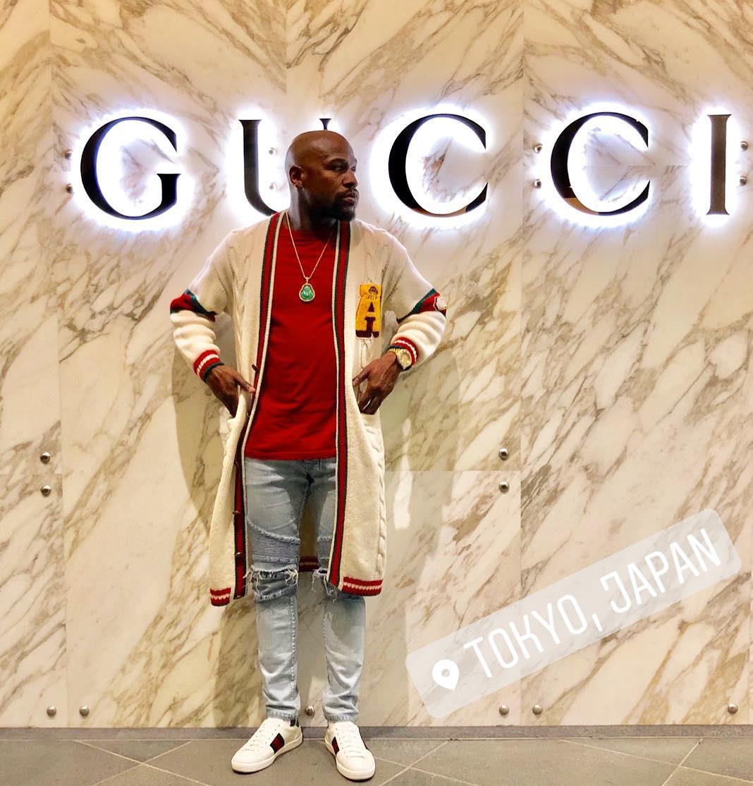 """Floyd Mayweather khép lại danh sách thời trang sao nam ấn tượng tuần 1 tháng 11/2018 với nguyên """"cây"""" Gucci sang trọng. Ảnh: Instagram @floydmayweather"""
