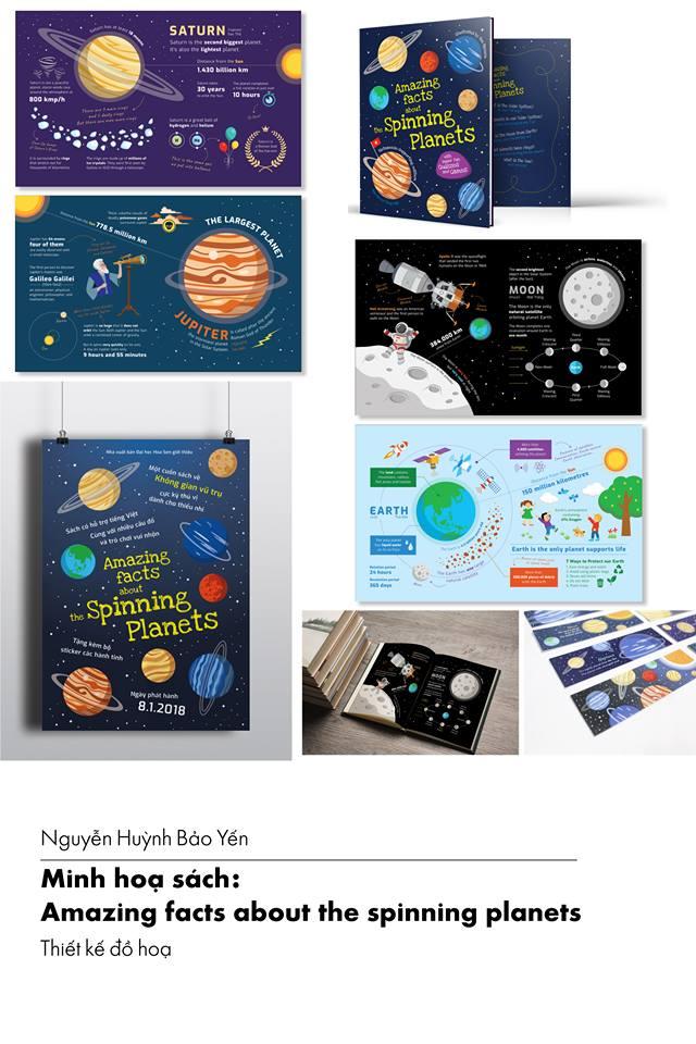 Nguyễn Huỳnh Bảo Yến  Minh họa sách: Amazing facts about the spinning planets Đại học Hoa Sen