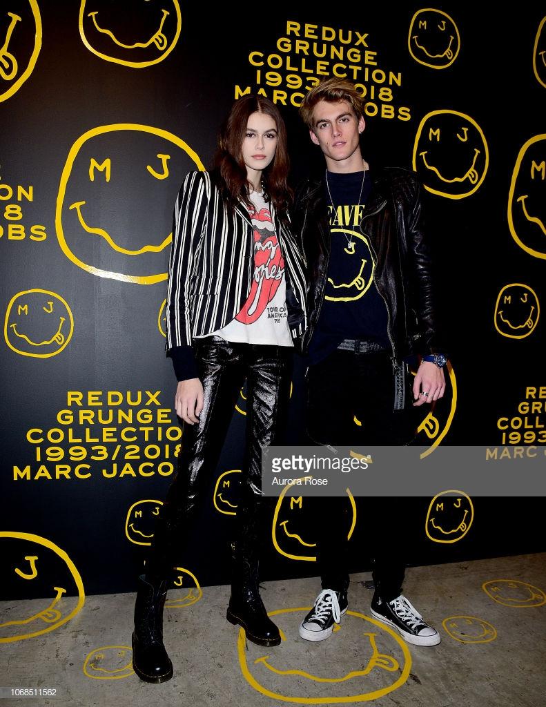 Presley Gerber lần đầu tiên xuất hiện trong top thời trang sao nam của ELLE Man bên cạnh em gái Kaia. Ảnh: Getty Images