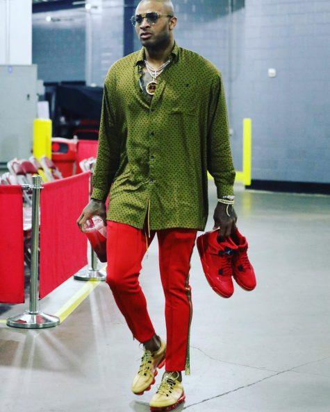 P.J.Tucker với trang phục nổi bật, bắt mắt trong top thời trang sao nam tuần này. Ảnh: Instagram @therealpjtucker17