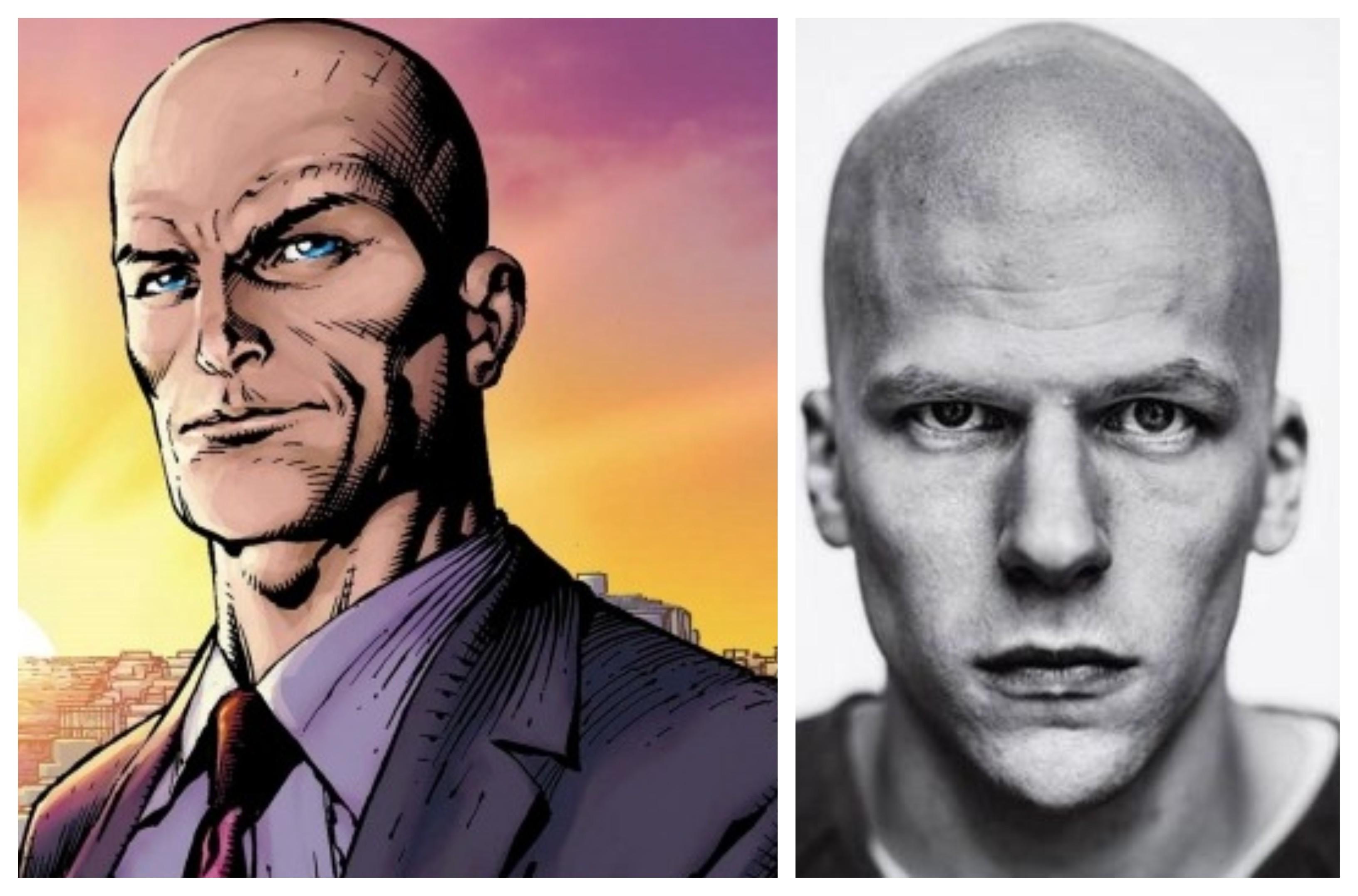 Nhân vật phản diện huyền thoại của DC Comics - Lex Luthors Trái: nguyên tác truyện tranh - Phải: màn hóa thân của diễn viên Jesse Eisenberg