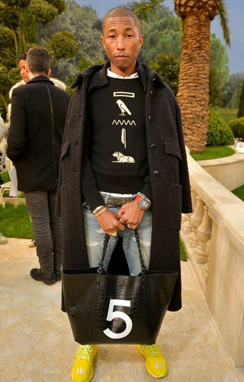 Pharrel Williams xếp vị trí quán quân trong top thời trang sao nam nổi bật của tuần cuối tháng 1. Ảnh: Footwear News