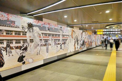 bức tường anime tại ga shibuya thủ đô tokyo 2